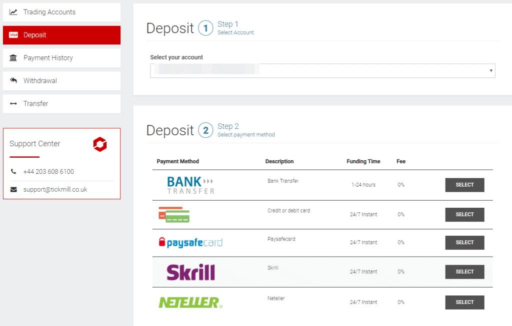 Tickmill deposit and withdrawal