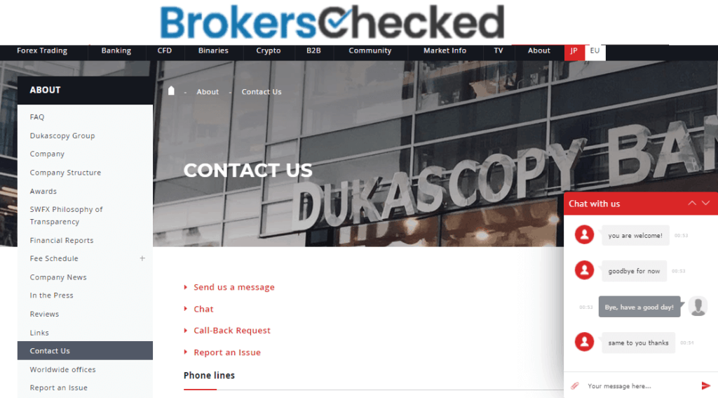 Dukascopy Review – Customer Service – Live Chat